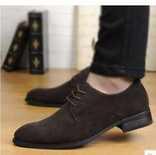 Men's Pointy Toe oxford dress formal business lace up Suede casual Shoes
