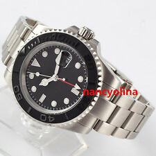 40mm Parnis black ceramic bezel number Sapphire Glass GMT Date Automatic D18