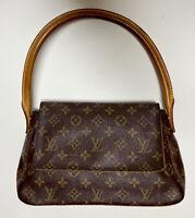 Authentic Louis Vuitton Mini Looping Bag Brown Monogram Hand Bag M51147