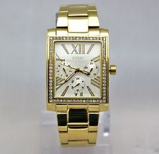 New Guess U0446L2 Chronograph golden Rectangle Stainless Steel Band Women Watch