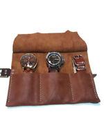 3 slots English Leather Watch Roll Jewerly Display Storage Organizer Watch Case