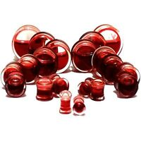 RED LIQUID BLOOD Red ACRYLIC EAR LOBE PLUGS Piercing Tunnels Double Saddle Studs