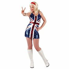 Adult Spice Girls Fancy Dress Costume Union Jack Flag Glitter Royal Wedding GB