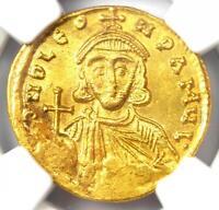 Ancient Byzantine Leo III AV Solidus Gold Coin 717-741 AD - NGC MS (UNC)