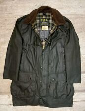 Men's BARBOUR BORDER Green Waxed Classic Jacket Size c40/102cm M/L