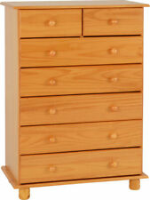 SOL SOLID ANTIQUE PINE 5+2 DRAWER CHEST OF DRAWERS