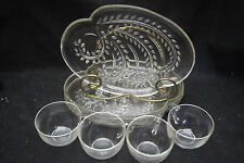 Homestead Snack Set by Federal Glass Company - 4 Trays and 4 cups - USED