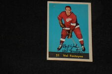 VAL FONTEYNE 1960-61 PARKHURST SIGNED AUTOGRAPHED CARD #21 RED WINGS