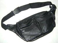 NEW BLACK LEATHER BUM BAG BUMBAG WAIST BELT 6 ZIP POCKET 054