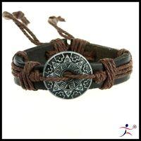 Men's Brown Cool Cuff Hemp Surfer Tribal MultiWrap Wrist Leather Bracelet  ZPZ