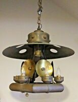 "Industrial Style Copper & Brass 6 Light Chandelier Tubular 21"" Dia.- Rare"