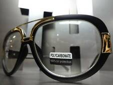 VINTAGE RETRO NERD RX FASHION SPECS CLEAR LENS EYE GLASSES Black & Gold Frame