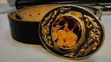 Belt & Buckle - ELVIS - Leather - Embossed - Size 32''