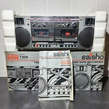 More details for retro saisho stereo radio twin cassette tape recorder t606 boombox - boxed!