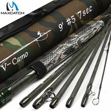 Maxcatch 5WT Traveller Fly Rod 9FT 7Pieces Camo Trout Fly Fishing Rod&Rod Tube
