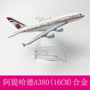 Diecast Model 16cm Etihad A380 Solid Passenger Airplane Plane Aircraft Metal