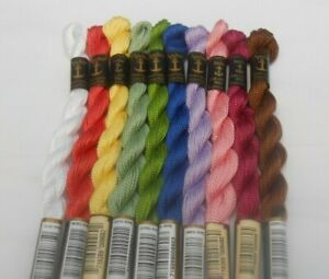 Pack of 10 Anchor Perle 5 Cotton 5g Skein Assorted - Colours may vary