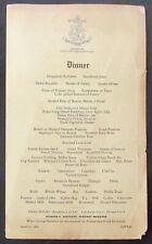 1936 MENU & WINE LIST DINNER AT THE NEW ST. GEORGE HOTEL BERMUDA