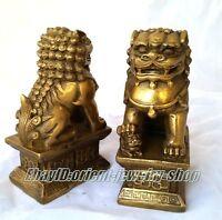China Archaic copper statue lion Foo Dog Door guard Statues