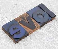 """LOVE"" Holzbuchstaben Drucklettern Vintage shabby chic letterpress wood type"