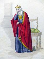 Gravure Portrait couleur REINE BRUNEHAUT Boulanger / Gaitte 19e siècle