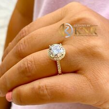 14k Yellow Gold Round Moissanite And Natural Diamond Engagement Ring Halo 3.30ct