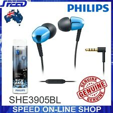 PHILIPS SHE3905BL Headphones Earphones with Mic - Rich Bass - BLUE - GENUINE