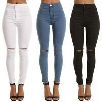 Mode Jeans Femme Crayon Stretch Décontracté Denim Skinny Pantalon Taille Haute
