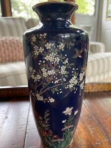 FINE SILVER WIRE ANTIQUE JAPANESE MEIJI CLOISONNE VASE TREE FLOWERS BIRD