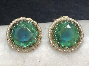 Vintage Blue Green Rivoli Style Rhinestone & Faux Pearl Clip On Earrings