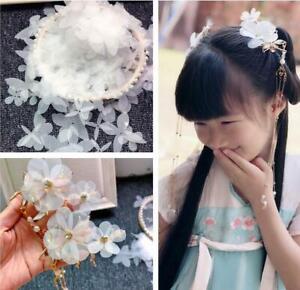 100X white Chiffon flower petal hair accessories bride girl headdress material