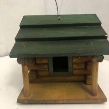 Birdhouse-Wood Log Cabin Rustic Country Decor- Wall Hanger 8�x7�x7� Green Brown