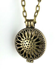Bronze Sunflower Essential Oil Aromatherapy Diffuser Necklace