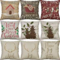 """18"""" Cotton Linen Printing Christmas Stock Home Decor pillow case Cushion Cover"""