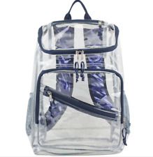 Clear Backpack w/ Purple Navy Trim Security Book Bag Travel Events 17.5in