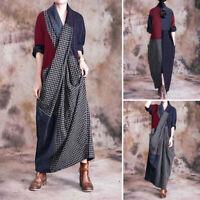 Vintage Femme Poche Dresse Manche Longue Col V Vérifier Party Maxi Robe Plus