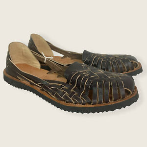 NEW IX Style Woven Brown Leather Huarache Sandals Fits Women's Size 9 Handmade