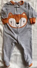 Baby Gerber 1-Piece Sleeper Long Sleeve Footed Gray with Orange Fox Size 0-3 mos