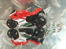 2016 Hot Wheels Red/White DUCATI 1199 Panigale Motorcycle Custom Key Chain Ring