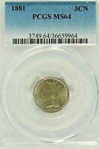 1881 Three Cent Nickel : PCGS MS64