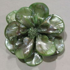 Flower Brooch Green Mother of Pearl Petals Glass Beads Hand Crafted Artisan