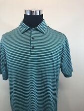 Mens Nike Golf Stretch Uv Protection Striped Dri-Fit Polo Shirt Active Sz L Q36