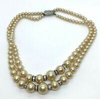 Vintage Silver Tone Rhinestone Multi Strand Faux Pearl Beaded Necklace Jewelry