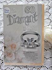 Glückwunschkarte Elegant modern Diamant Hochzeit 60 Ring Rosen Herz Spruch