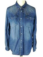 H&M Blue Chambray Embellished Western Smart Casual Denim Blouse Shirt Size S 10