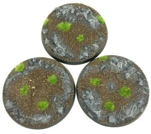 Rocks - Round Resin Bases 60 mm - 3 Painted/Unpainted Bases for Warhammer