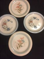 4 Mismatched Vintage Ironstone China Dinner Plates Peach and Blue Beautiful #203