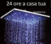SOFFIONE doccione QUADRO LUMINOSO DOCCIA BAGNO TONDO LED 20 25 30cm CROMOTERAPIA