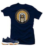 "Shirt to match  Air Jordan Retro 11 Low Navy/Gum Sneakers ""Chief"" Navy tee"