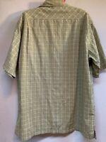 Columbia Men's Cotton Blend Brown Plaid Short Sleeve Button Up Shirt Pocket